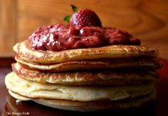 Fluffy Pancakes with Balsamic Strawberry Sauce