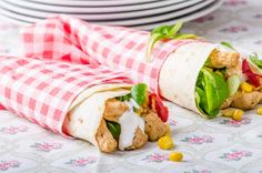 Rolls of Pita Bread with Chicken and Chili Pepper