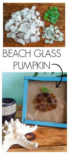 Collected pieces of beach glass are turned into a charming little pumpkin, a…
