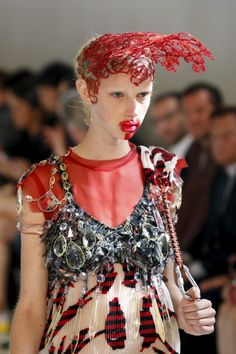 John Galliano for Maison Margiela Fall 2016 Artisanal Haute Couture Runway look styled by Alexis Roche