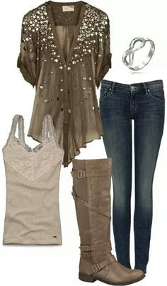 Jeans are cute, but I'd probably look bad in the shirt... and I like the boots.