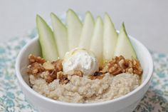 Get Your Goat: Goat cheese, sliced pear, walnuts and honey are a decadent and decidedly healthy addition to your favorite oatmeal. #BRMOatmeal