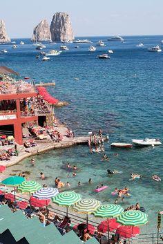 Italy Photography, Summer Beach club in Capri, Italy, beach photography, Italian. Beach Pink, Summer Beach, Summer Sun, Summer Vibes, Italy Vacation, Italy Travel, Travel List, Vacation Spots, Beach Club