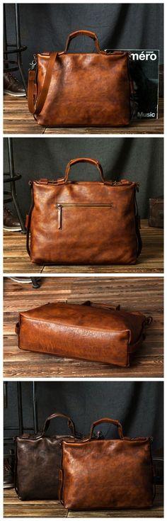 Handcrafted Vintage Genuine Full-gain Leather Briefcase Handbag Men's Laptop Bag Crossbody Bag 246 Overview: Design: Vintage Leather Men Briefcase Laptop Bag In Stock: 4-5 days For Making Include: Onl