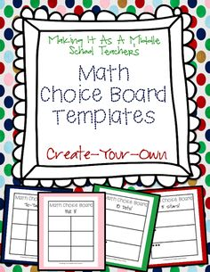 Math Choice Board Templates: Create Your Own from Making It As A Middle School Teacher