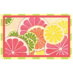 Bungalow Flooring New Wave X Fresh Citrus Door Mat Pink/multi - You'll smile and feel refreshed every time you see this go-anywhere, fruit-filled mat. It'll provide a decorative touch as well as a no-slip spot, and cushioning for wet, tired or cold feet. Kitchen Rugs And Mats, Kitchen Mat, Kitchen Decor, Kitchen Ideas, Kitchen Inspiration, Welcome Letters, Cool Doors, Garden Doors, Spring Garden