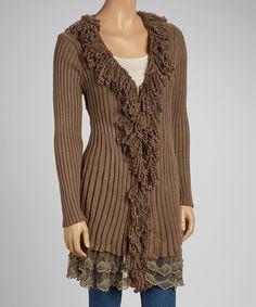 Taupe Wool-Blend Fringe Cardigan