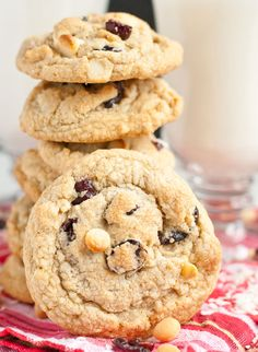 These Gluten Free White Chocolate Macadamia Nut Cookies get an added flavor boost from toasted coconut and cranberries.