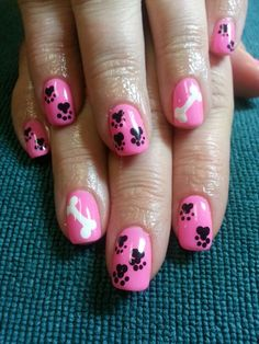 Puppy toe nail art