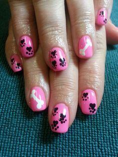 Puppy toe nail art