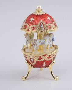 kk__Faberge egg__ Red Faberge Style Egg with Horse Carousel