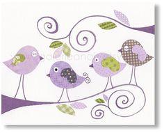 Impresiones de arte infantil - bebé infantiles decoración - arte infantil - niños impresión - arte - pájaro vivero - púrpura - aves de chismes