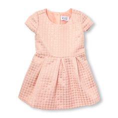 Toddler Girls Cap Sleeve Metallic Jacquard Flare Dress