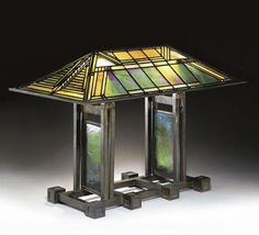 Leaded Glass Shade and Bronze Lamp Base. Designed for the Susan Lawrence Dana House, Springfield, Illinois. Executed by the Lenden Glass Company, Chicago, Illinois. Leaded Glass Windows, Stained Glass Lamps, Glass Panels, Frank Lloyd Wright, Antique Lamps, Vintage Lamps, House Lamp, Art Deco, Art Nouveau