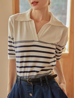 Nylons, Chemise Fashion, Simple Shirts, Blouse Simple, Striped Polo Shirt, Necklines For Dresses, Knit Shirt, Tee Shirt, V Neck Blouse