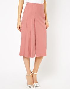 Longline Kilt Midi Skirt at ASOS