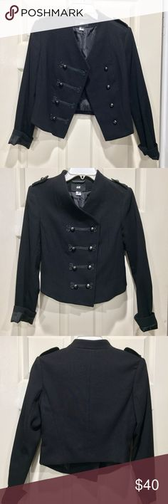 Military embellished cropped blazer Purchased in Dubai and worn once! Awesome braid and double breasted buttons. Perfect condition. H&M Jackets & Coats Blazers