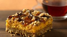 pumpkin streusel cheesecake bars.