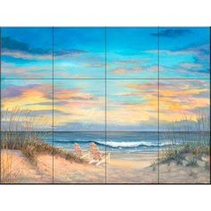 Front Row Seats by Mary Lou Troutman - Kitchen Backsplash / Bathroom wall Tile Mural The Tile Mural Store Tile Murals, Wall Tiles, Mural Wall, Tropical Tile, Decoupage, Glazed Ceramic Tile, Traditional Tile, Tile Projects, Ocean Themes