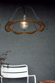 Crochet, past shapes come to life in a contemporary design Crochet Lamp, Lamp Design, Modern Lighting, Contemporary Design, Past, Chandelier, Ceiling Lights, Shapes, Life