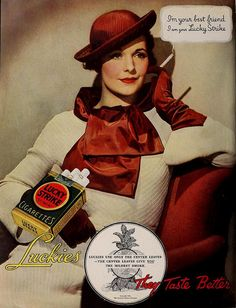 Hat & Dress featured in Lucky Strike ad, June 1935
