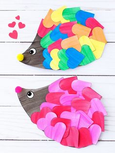 Just in time for Valentine's Day, kids of all ages will enjoy creating a darling heart hedgehog craft with paper hearts, paint, and pom poms. This easy kids craft includes a printable template, making it perfect for home or school. Valentine's Day Crafts For Kids, Valentine Crafts For Kids, Fun Crafts, Easy Crafts With Paper, Valentines Crafts For Kindergarten, Crafts For Children, Toddler Paper Crafts, Crafts For Babies, Arts And Crafts For Kids Easy