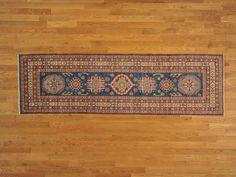 2.5' x 9' Runner Denim Blue Hand Knotted Kazakh Oriental Rug 100% Wool Sh18264