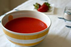 Strawberries gazpacho Gazpacho, Strawberries, Pudding, Desserts, Dinners, Recipes, Food, Tailgate Desserts, Dinner Parties
