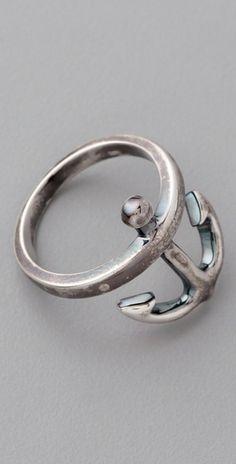 ahoy . silver . anchor ring