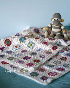 sunburst granny square blanket