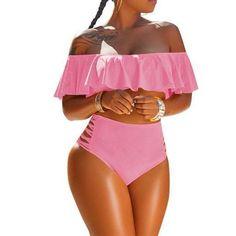 40ce63bda1 Push Up Bikinis Set Ruffle off Shoulder Swimsuits
