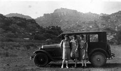 Jessie Sr., Mill & Winsome with Homer Halverson's automobile at the base of the Santa Susana Mountains in Chatsworth, California, 1928. Homer Halverson Collection. San Fernando Valley History Digital Library.