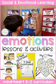 "This emotions & feelings unit includes lessons and hands-on activities that teach children to use ""I feel"" statements, about the brain, and ways to build social and emotional skills. The lessons and activities are great for classroom meetings, school counselors and classroom teachers, and children in K-2. #socialemotionlearning #classroommanagement #charactereducation #socialskills #teachingemotions"