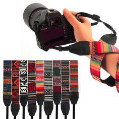 3 in 1 Camera Straps Vintage Hippie Style Canvas Shoulder Neck Durable Cotton for Nikon Pentax Sony Canon DSLR Camera