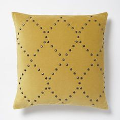 Studded Velvet Ogee Pillow Cover - Horseradish | West Elm