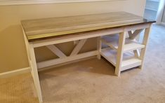 DIY Farmhouse Desk plans that will make your home office pop! Need an office farmhouse desk to spice up the home office? These DIY Desk Plans will make your office come to life. Diy Furniture Easy, Diy Outdoor Furniture, Furniture Projects, 2x4 Furniture, Furniture Removal, Steel Furniture, Retro Furniture, Furniture Outlet, Furniture Stores