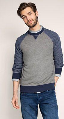 Esprit / Melange sweatshirt, colour block sleeves