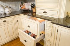 Refrigerator drawer disguised as a kitchen drawer, love this idea for extra drink or fruit storage! Great for island, below vegetable sink. Undercounter Refrigerator, Kitchen Refrigerator, Kitchen Pantry, Kitchen Cart, Kitchen Ideas, Remodeling Mobile Homes, Home Remodeling, Kitchen Drawers, Kitchen Cabinets