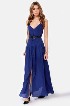 long navy dress. Cute for the summer.