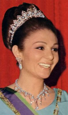 Shāhbanu Farah Pahlavi, Empress consort of Mohammad Rezā Shāh Pahlavī, wearing the Turquoise and Diamond Tiara, Iran (20th c.; turquoises, diamonds).