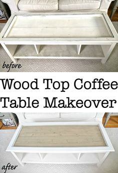 Wood Top Coffee Table Makeover -