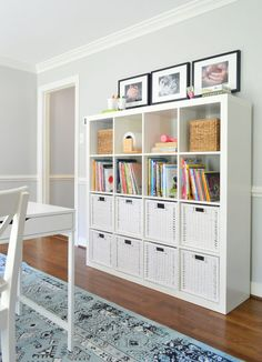 How a few cheap & easy Ikea finds turned this space into a hyper-functional, hardworking homework room for two grade schoolers. Easy Home Decor, Cheap Home Decor, Ikea Cubes, Young House Love, Living Room Designs, Bedroom Designs, Shelving, Garage Storage, Playroom Storage