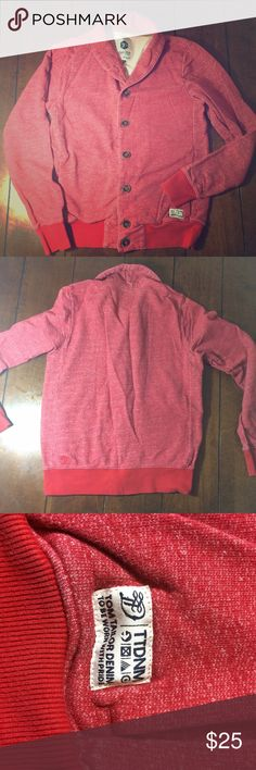 FLASH sale! Tom tailor Button Up sweatshirt Men's size small tom tailor Button Up sweatshirt. Sweatshirt material. Red. Top button has been resewn on. Has pockets. Chest measures 18 inches, sleeves are 20 inches and this is 24 inches long. Lowest clearance. Offers will not be accepted. Bundle discount still applies. Hurry! tom tailor  Shirts Sweatshirts & Hoodies