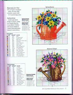 Cross-stitch Floral Watering Cans, part pixels 123 Cross Stitch, Small Cross Stitch, Cross Stitch Kitchen, Cross Stitch Cards, Cross Stitch Flowers, Cross Stitch Designs, Cross Stitching, Cross Stitch Embroidery, Cross Stitch Patterns