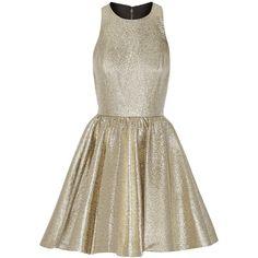 Alice + Olivia Tevin racer-back lamé mini dress ($505) ❤ liked on Polyvore