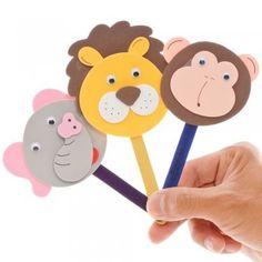 Marionetas de animales con palos de helado. Manualidad para niños