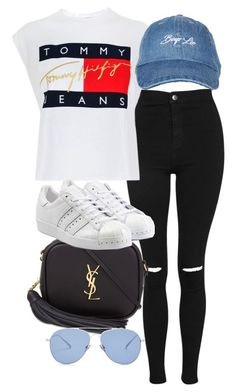 A fashion look from June 2017 featuring logo t shirts, petite jeans and white sneakers. Browse and shop related looks. Swag Outfits, Mode Outfits, Girl Outfits, Fashion Outfits, Dance Outfits, Fashion Weeks, Teenager Outfits, Outfits For Teens, Trendy Outfits
