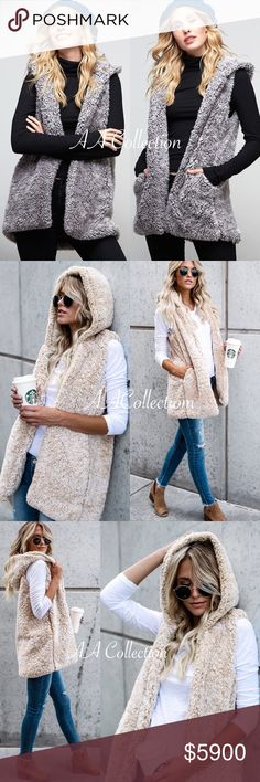 Sherpa Vest Hoodie pockets beige or gray super soft and comfy sherpa hooded vest. have pockets. fully lined. beige or gray to choose from. 100% polyester.lining is  rayon& spandex Jackets & Coats Vests