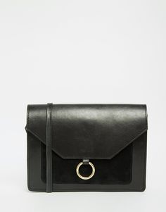 Image 1 of ASOS Vintage Leather Cross Body Bag With Metal Ring Detail