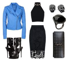 """""""Blue & Black"""" by dina-001 ❤ liked on Polyvore featuring Quiz, Miss Selfridge, Aéropostale, Giuseppe Zanotti, Betsey Johnson, Sharra Pagano and Yves Saint Laurent"""